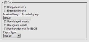 phpMyAdmin backup data